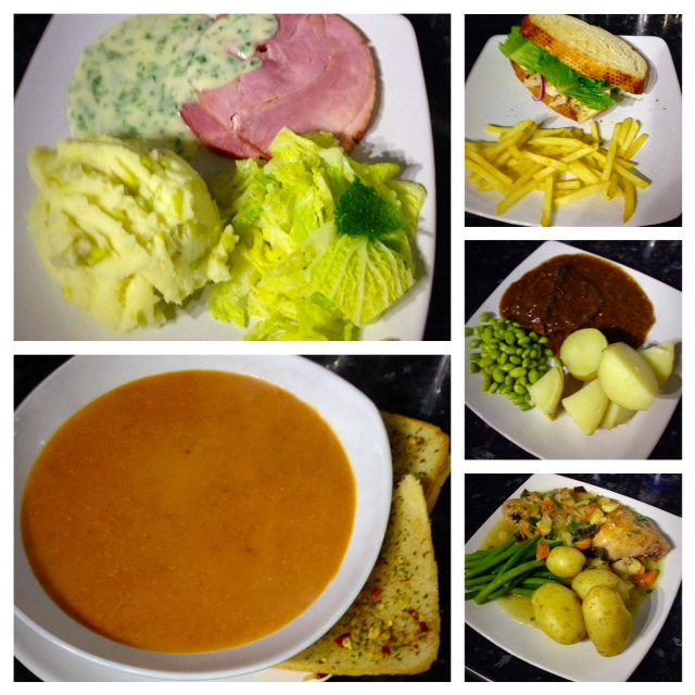 Ham with parsley sauce and leek mash, lentil ham and tomato soup ...