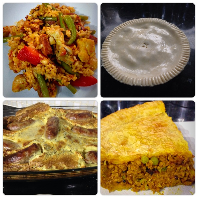 Chicken, choizo, & roasted red pepper paella, lamb keema pie, Cumberland sausage toad in the hole.